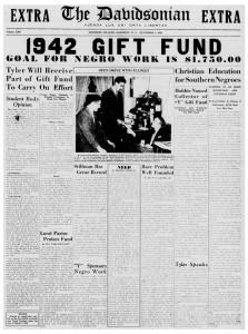1942 Davidsonian article on 1942 gift fund