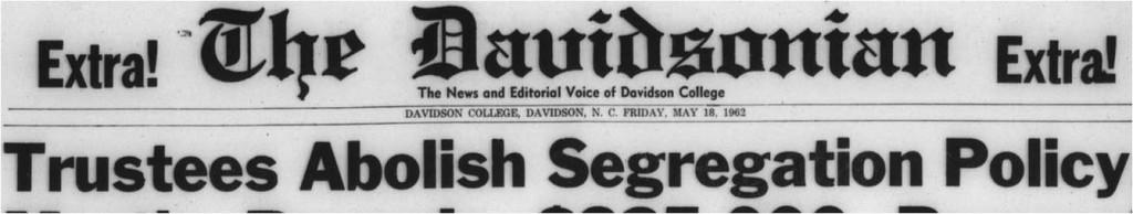 "Headline The Davidsonian ""Trustees Abolish Segregation Policy"""