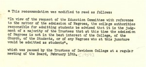 newspaper article rejecting the admission of negros as students .