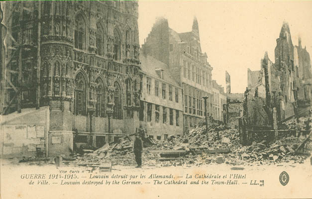 Photo of the cathedral and the town hall-Louvain destroyed by the Germans
