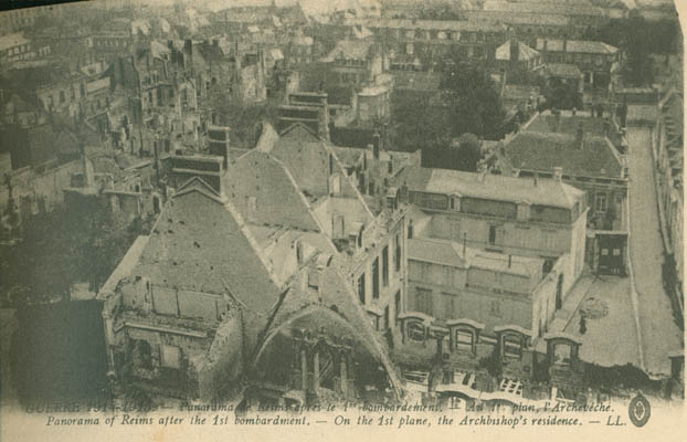 Panorama of Reims after the 1st Bombardment