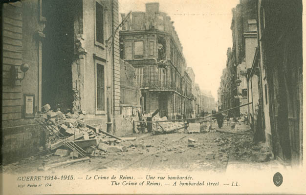 Rubble in the street at Reims