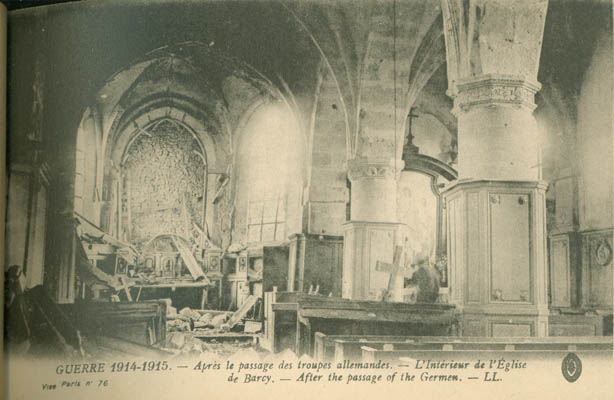 The Interior of the Church of Barcy, after the bombing.