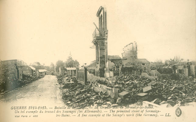 The principal street of Sermaize-les-Baines after the bombing.