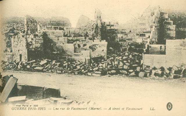 Post-bombing photo of a street of Vassincourt.