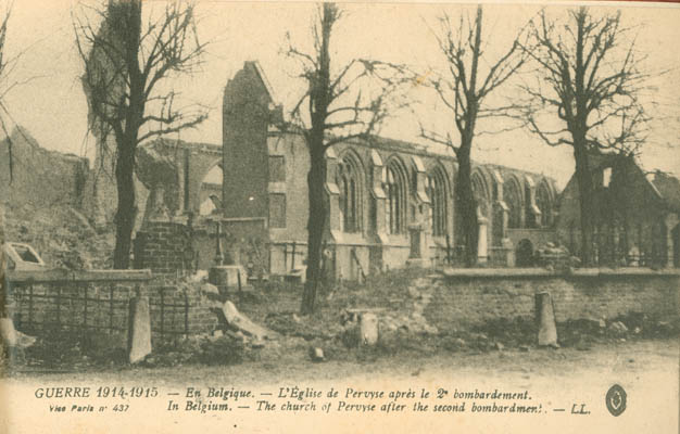 In Belgium - The Church of Pervyse after the second bombardment