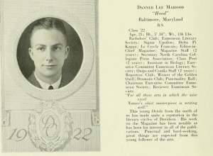 Image 2: Yearbook Page of Dannner Lee Mahood, Class of 1922. Quips and Cranks 1992 p.41, Davidson College Archives, Davidson College, NC.