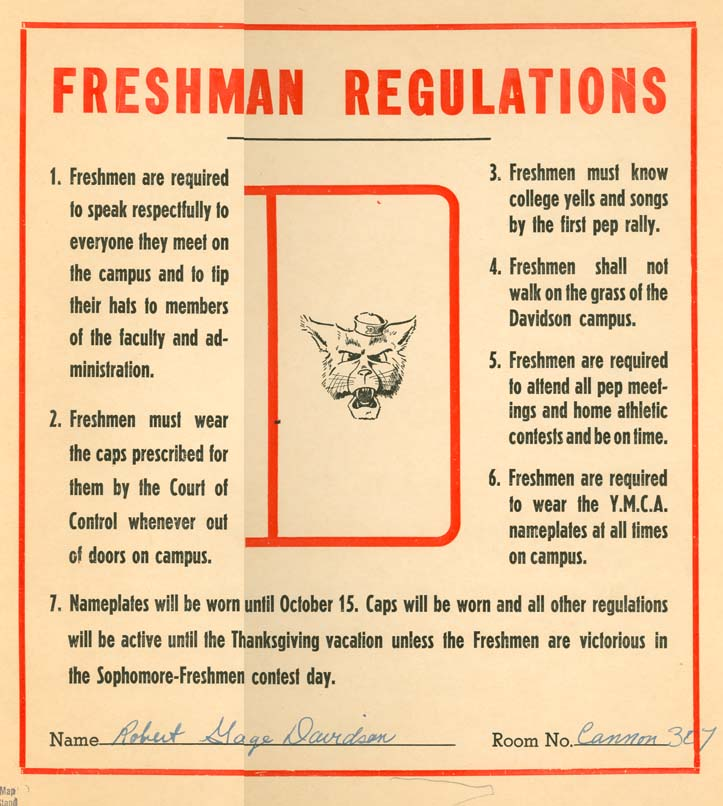 Freshman regulations sign