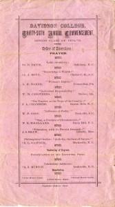 1873 Commencement Program