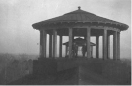 Two men standing in the Cupola on top of Chambers