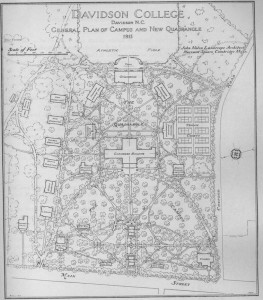 """1915 Nolan map of campus. The """"D"""" formed by Main Street and around the front of Chambers building."""