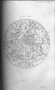 A sketch of the world as if you were looking at it from above with longitude and latitude lines and mythological creatures and gods scattered around. Also some constellations outside of the earth map.