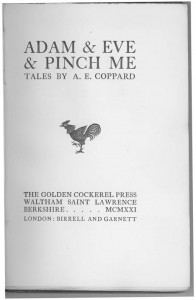 Adam and Eve title page with a rooster in the middle of the page