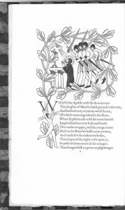Canterbury Tales illustration, four knights with swords, 3 of them unsheathed, ready to strike a man on his knees who is praying at an alter as a hand from above is giving him something.