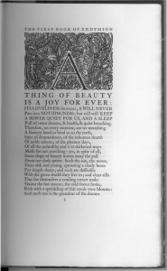 """Endymion illustration, plants and leaves all around the letter 'A'. The title of the chapter, """"THING OF BEAUTY IS A JOY FOR EVER"""""""