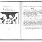 Pushkin Cockerel, a picture of two pages of a book, on the left page there is an image of a man's who is bald but has hair on the sides with two flags on either side of him and a black rooster on his head
