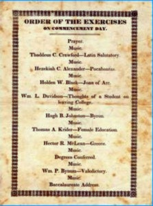 "1842 Program titled, ""Order Of The Exercises On Commencement day"""