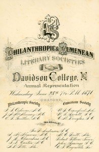 "1871 program titled, ""Philanthropic & Eumenean Literary Societies"""
