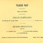 "Document titled, ""Class Day"" that includes planting a class tree and ""Senior Dramatics"" for the year 1895"