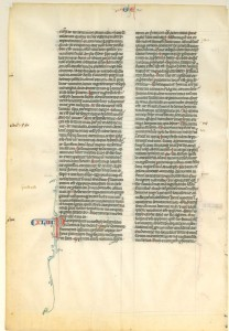 Leaf from a Medieval manuscript Bible. Paris, ca. 1250. (On vellum with initial capitals in red and blue.)