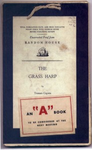 Tied-card proof of Truman Capote's The Grass Harp