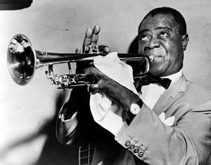Louis Armstrong playing the trumpet