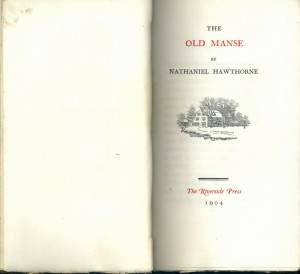 The Old Manse. RBR's Riverside Press edition. From the Bruce Rogers Collection. title page