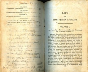 Table of contents for Life of Mary, Queen of Scots with notations