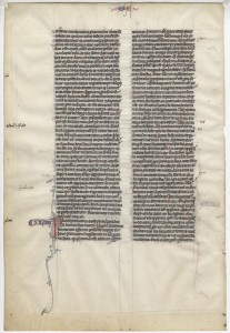 Medieval Bible leaf from a medieval manuscript Bible, also written in Latin on vellum, and dating to 1250 Paris.