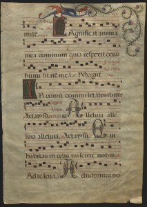 Choir leaf  from a liturgical book of the Western Christian church, written in Latin on vellum and dating to around 1500