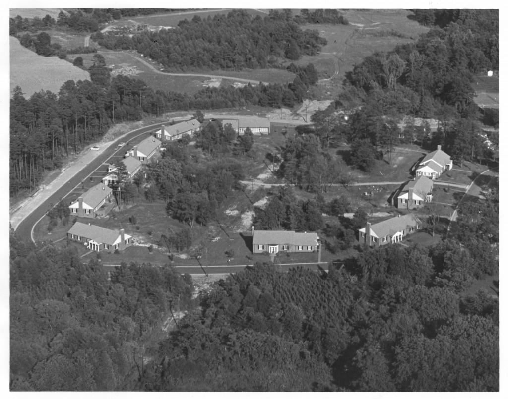 ariel view of Patterson Court, circa 1960s