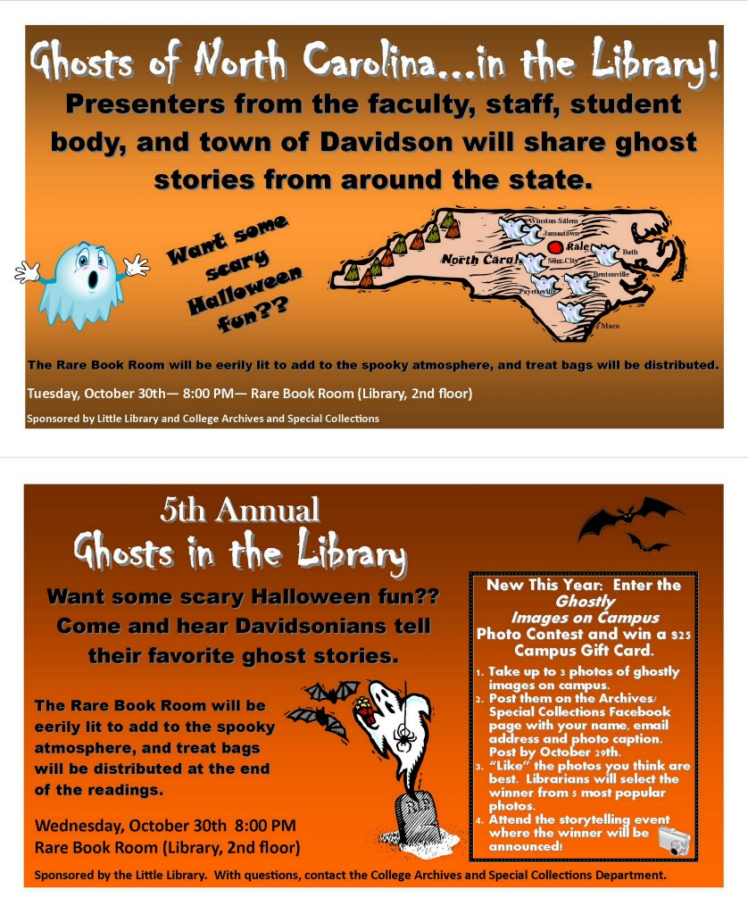 Posters from Ghosts in the Library, 2012 and 2013.