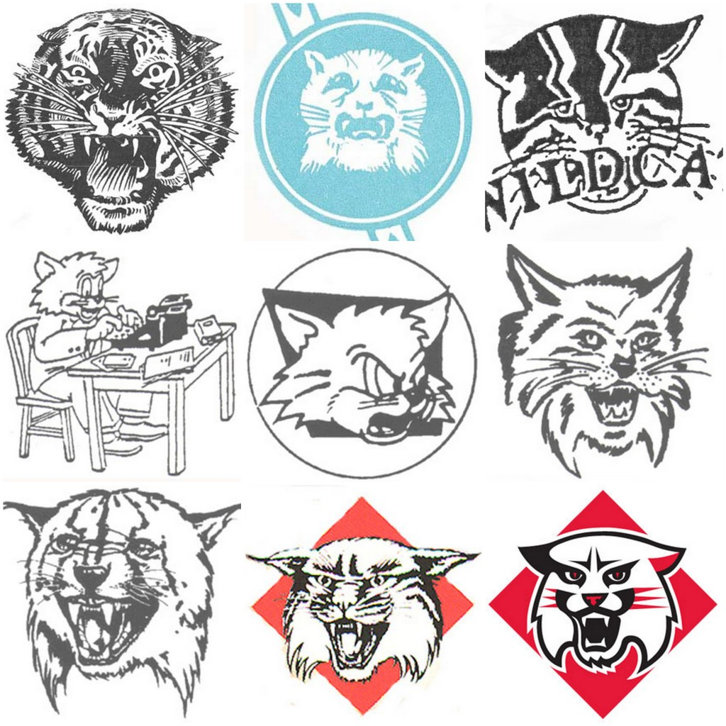 The mascot logos for Davidson throughout the years: Top row, left to right: 1920s, 1930s, and 1940s. Middle row: 1950s, 1960s, and 1970s. Bottom row: 1980s, 1990s, and 2000s.