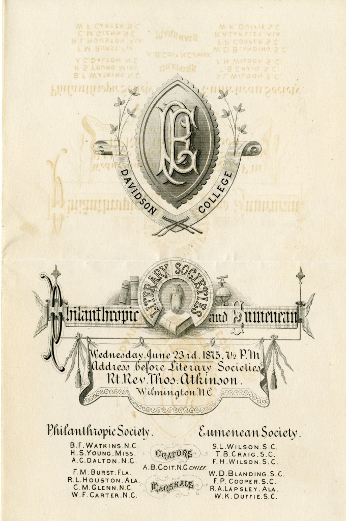 The 1870s and '80s were the golden years of commencement invitation design at Davidson, as this 1875 invitation to Misses Sallie and Mary Lafferty from the two literary societies demonstrates.