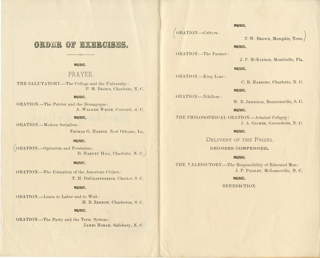 """The 1888 commencement Order of Exercises includes a number of interesting-sounding speeches - one imagines that the average Davidson student has certainly """"Learn[ed] to Labor and to Wait"""" by graduation!"""