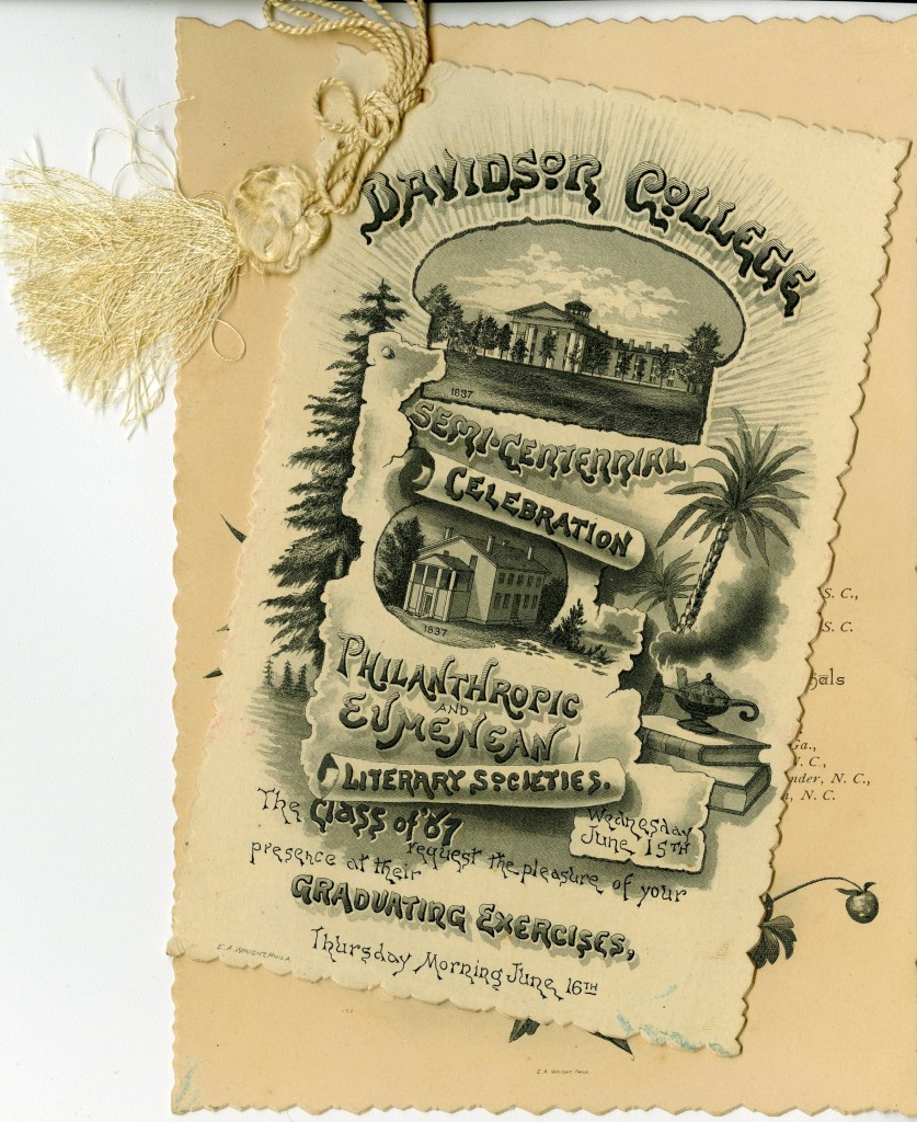 The literary society members in 1887 appear to have had a hard time deciding on fonts for their commencement invitations, so they chose to use all of them.
