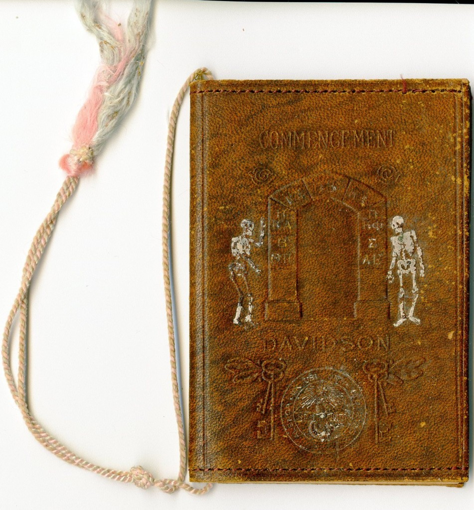 """By the 1890s, fraternities on campus began to plan commencement activities separate from the literary societies. The Pan-Hellenic Council of 1913 distributed a sort of """"dance card"""" for commencement activities - this booklet belonged to Maud Vinson, who was sponsored by John Burns Jr."""
