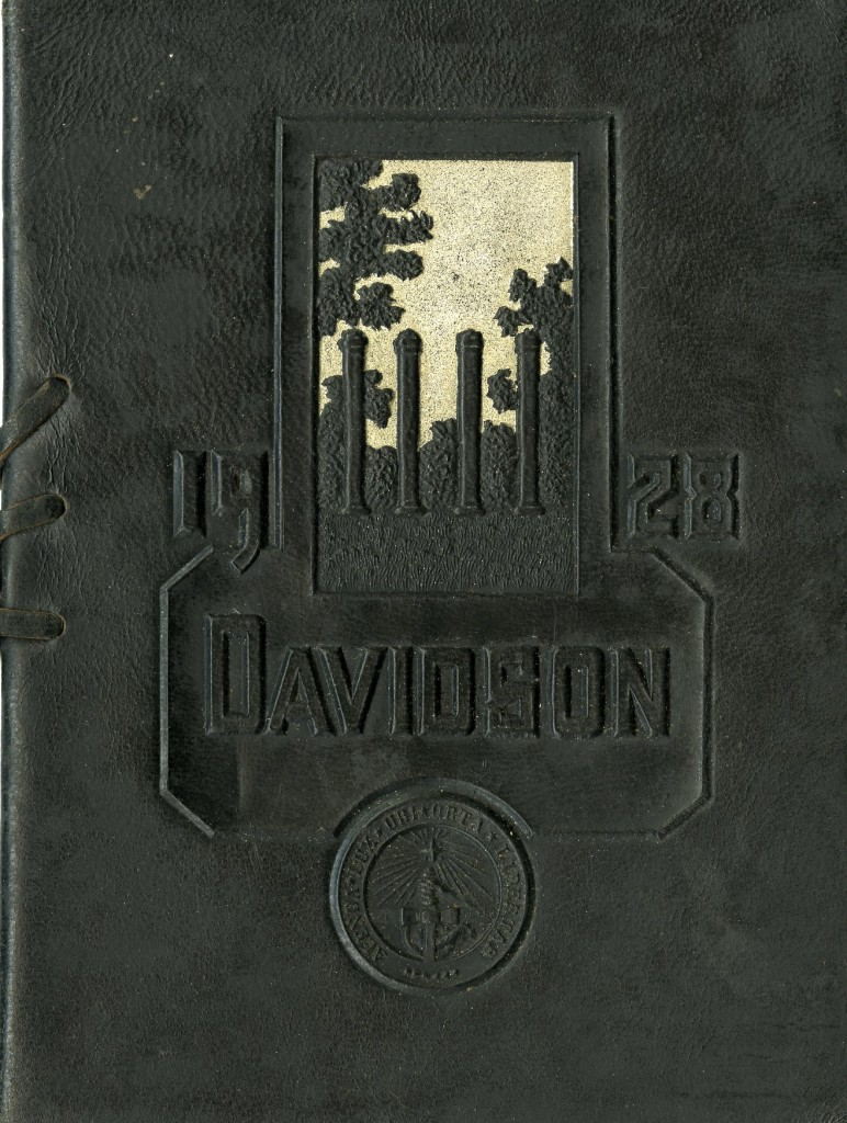 The 1928 commencement program was one of the last to have a leather cover. This design features the columns of the Old Chambers building, left standing until 1929 after the fire that destroyed the building eight years prior.
