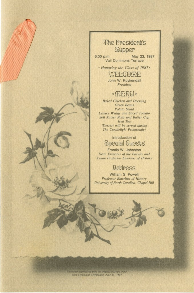 1987 was Davidson's sesquicentennial year, and the cover for the President's Supper evokes earlier commencement publications.