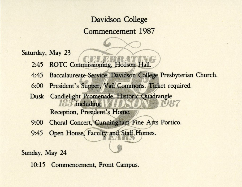 By the mid twentieth century, Davidson's commencement invitations included a small card with the schedule of events printed on it. This example from 1987 includes the sesquicentennial logo designed by Burkey Belser (class of 1969)