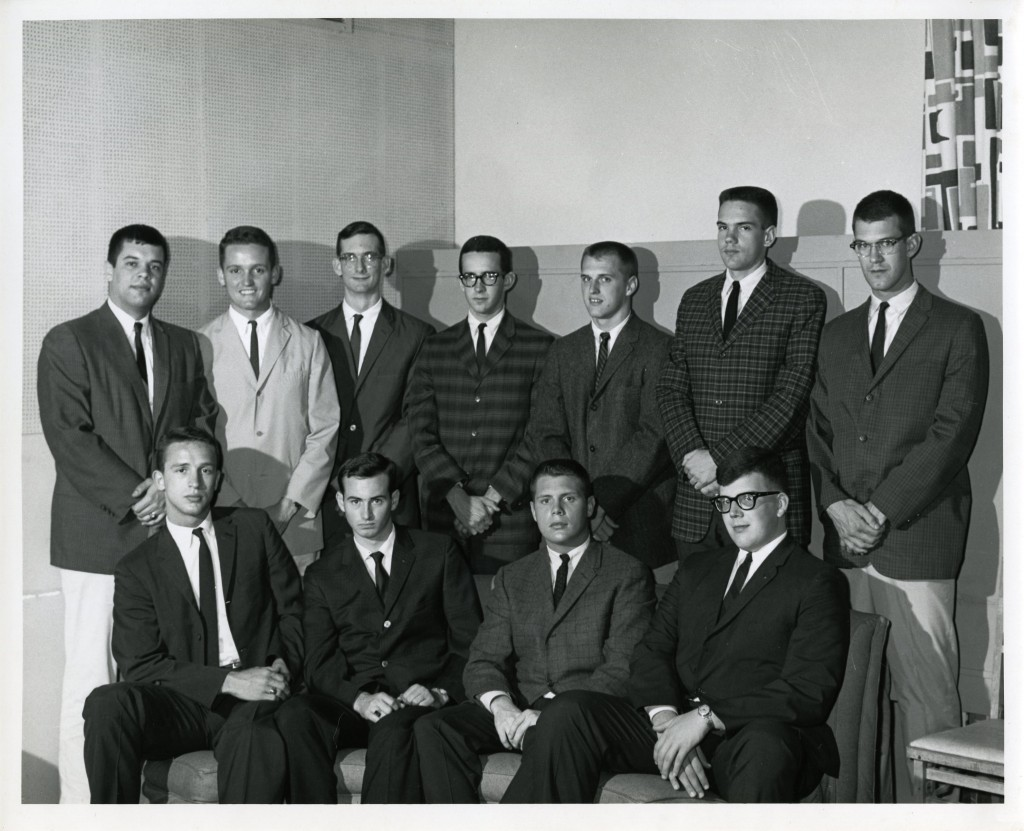 Possibly a meeting of Interfraternity Council in 1963 - clockwise from top row, left (all are Class of 1963, and presidents of their respective fraternities): Gene Wells, Lawrence Kimbrough, Bernard Swope, unknown, Alex Gibbs, Bill Clingman, Jamie Long, John Oehler, Lewis Martin, Bud Robinson, and Steve Butler.