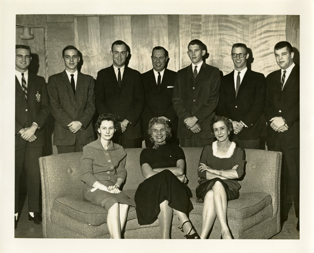 Another group shot, possibly from a college staff party in 1961. Third from the left, top row is future College President John Wells Kuykendall  (Class of 1959, in his role as Assistant Director of Alumni and Public Relations). Also pictured are John R. Horton (to the right of Kuykendall, Class of 1938, Director of Alumni and Public Relations), and Nancy Blackwell (seated, far left - the Blackwell Alumni House is named for Nancy, who worked at Davidson for 54 years).