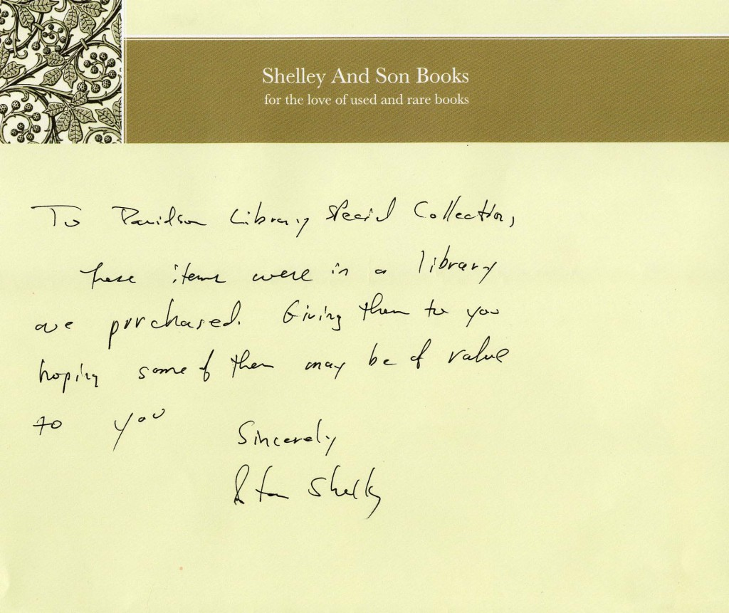 "The note that accompanied our mystery parcel, from Hendersonville's on a card with the heading ""Shelley And Son Books for the love of used and rare books"""