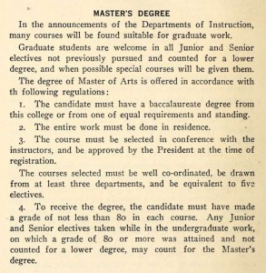 Davidson's requirements to earn a Master's Degree.