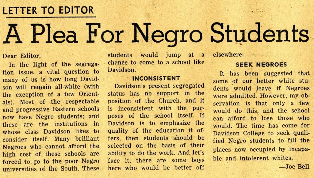 "Joe Bell's letter to the editor, January 17, 1958. ""A Plea For Negro Students"""