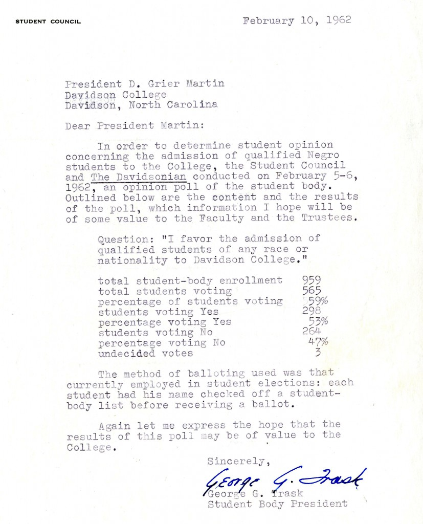 "Trask's letter to President Martin, showing that 59% of the student body had responded to the poll, with 53% in favor of ""the admission of qualified students of any race of nationality to Davidson College."""