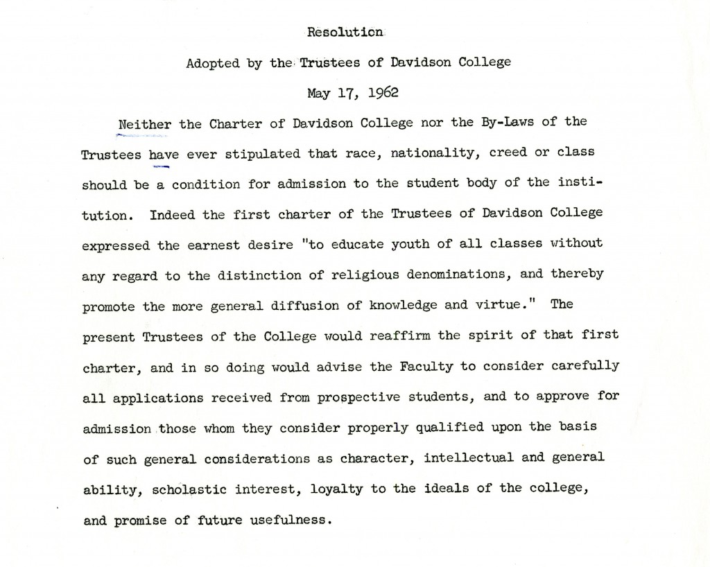 May 17, 1962 Trustees statement