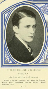 Senior entry in Quips and Cranks, with an image of Alfred Franklin Burgess.