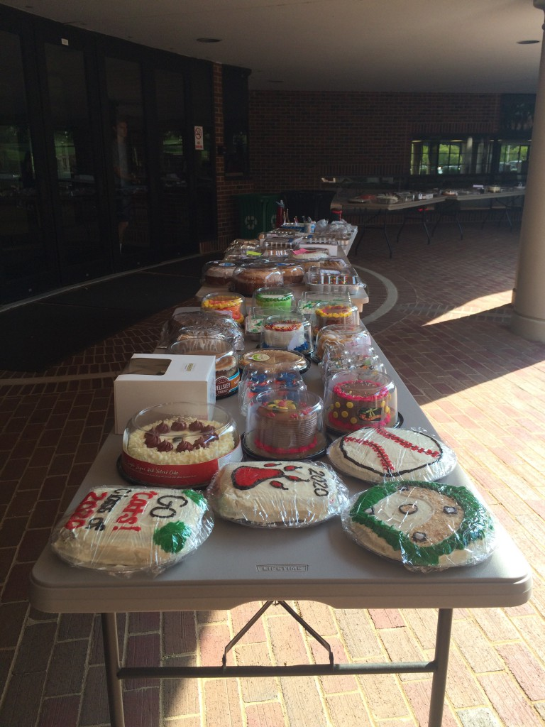 A bunch of cakes on a table right outside of baker sports complex