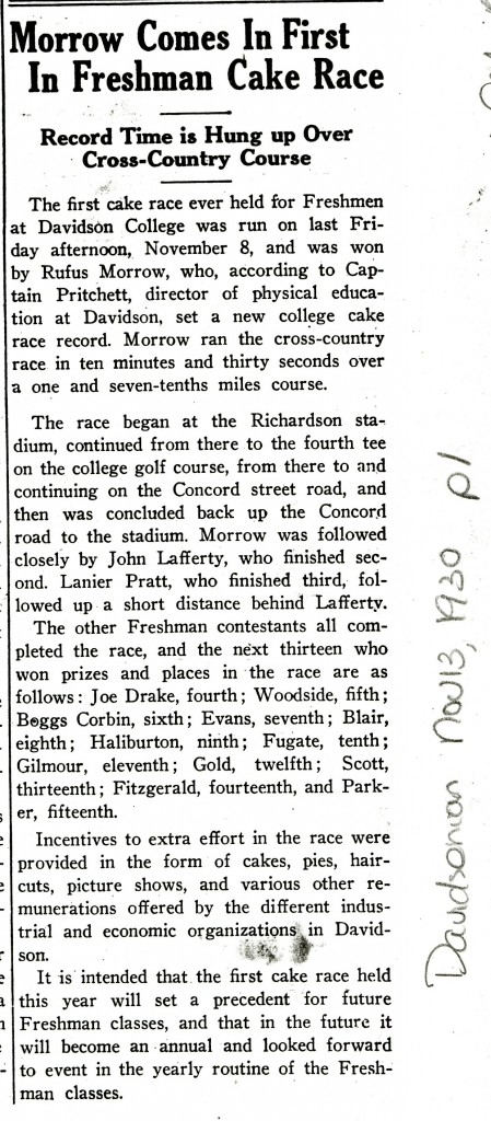 """An article about how the first cake race also saw the setting of """"a new college cake race record,"""" with the heading, """"Morrow Comes In First In Freshman Cake Race"""""""